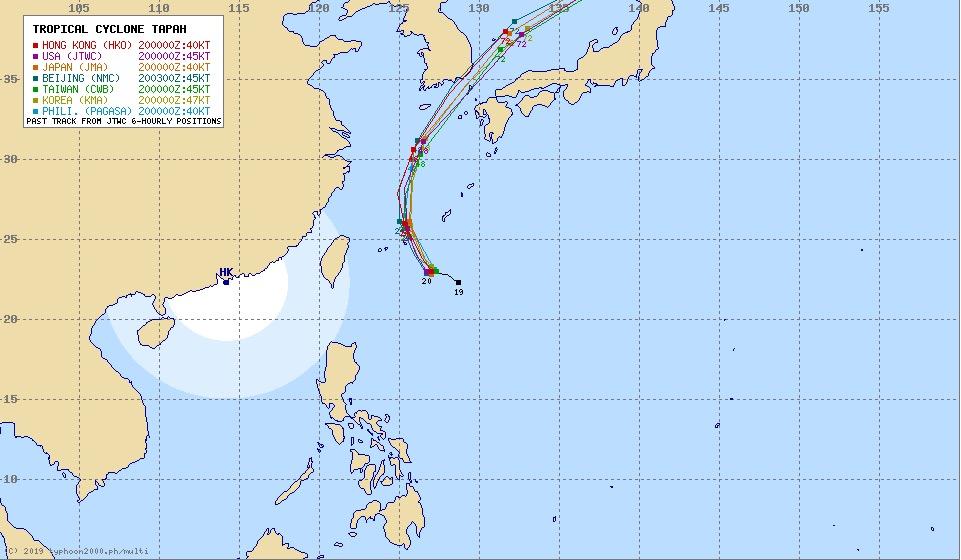 台風17号(ターファー)アジア各国進路予想