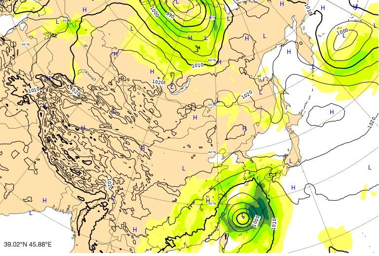 台風17号(ターファー)ヨーロッパ進路予想(48時間後)