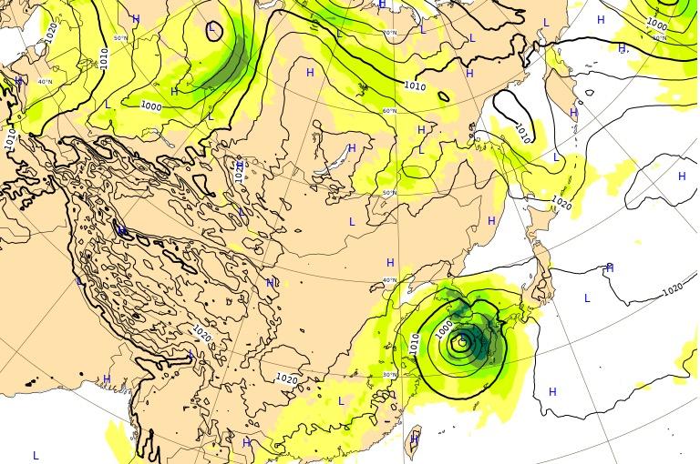 台風17号(ターファー)ヨーロッパ進路予想(72時間後)