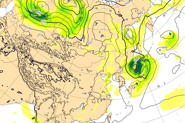 台風17号(ターファー)ヨーロッパ進路予想(4日後)